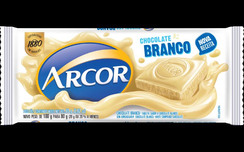 Tablete Arcor Chocolate Branco 80g