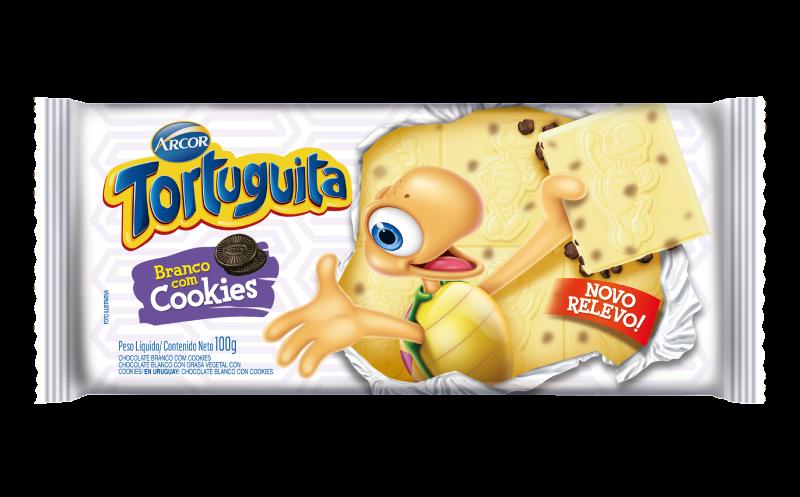 Tablete Tortuguita Branco com Cookies 100g