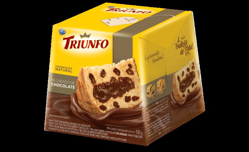 Triunfo panettone com gotas recheado de chocolate 530 g