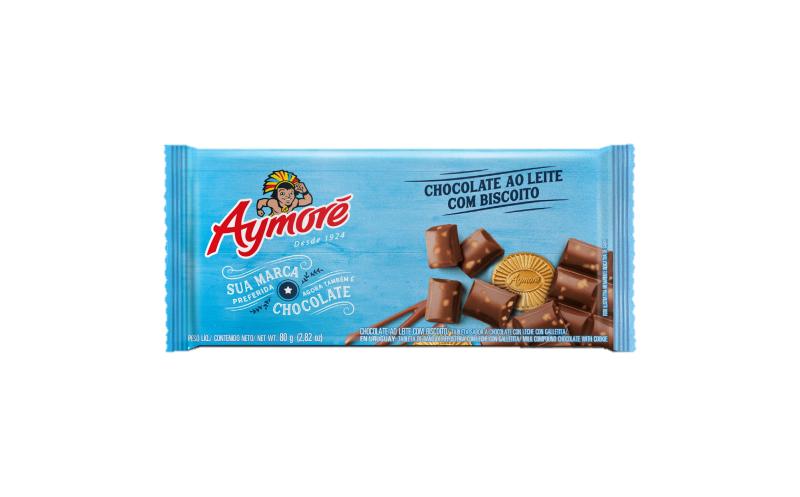 Aymoré Chocolate Ao Leite com biscoitos 80g