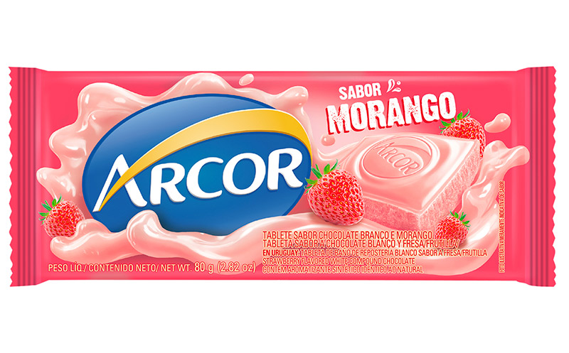 Tablete Arcor Sabor Morango 80g